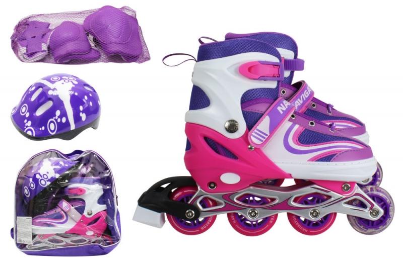 Купить Коньки роликовые, колеса ПВХ, в комплекте с защитой и шлемом, переднее колесо со светом, S, бордовые, 1TOY
