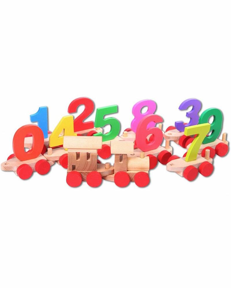 Деревянный паровозик с цифрами, в деревянном ящикеПаровозики и машинки<br>Деревянный паровозик с цифрами, в деревянном ящике<br>