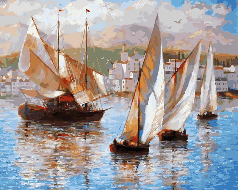 Купить Раскраски по номерам - Картина Морская прогулка по Италии, 40 х 50 см., Белоснежка