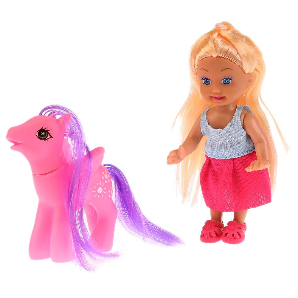 Кукла Машенька, в комплекте пони, расческа, 12 см, Карапуз  - купить со скидкой