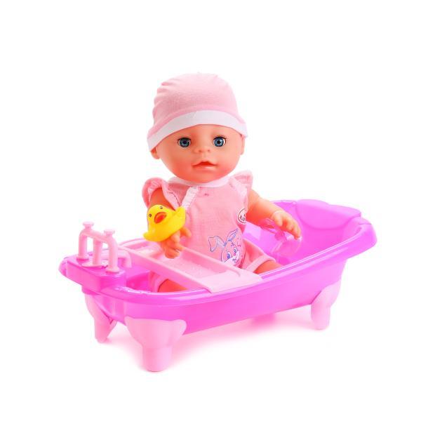 Пупс с аксессуарами в ванне – Карапуз, 30 см, 3 функции, розовыйКуклы Карапуз<br>Пупс с аксессуарами в ванне – Карапуз, 30 см, 3 функции, розовый<br>