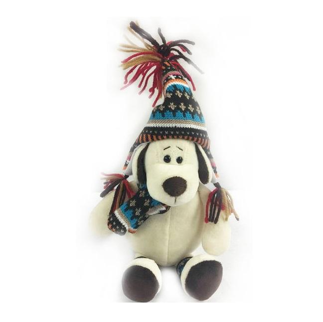 Мягкая игрушка - Собака в шапке, 18 см.Собаки<br>Мягкая игрушка - Собака в шапке, 18 см.<br>