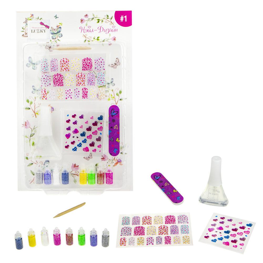 Набор Lukky для дизайна ногтей - Нэйл-Дизайн #1 - Сердечки, цветные пятнышки фото