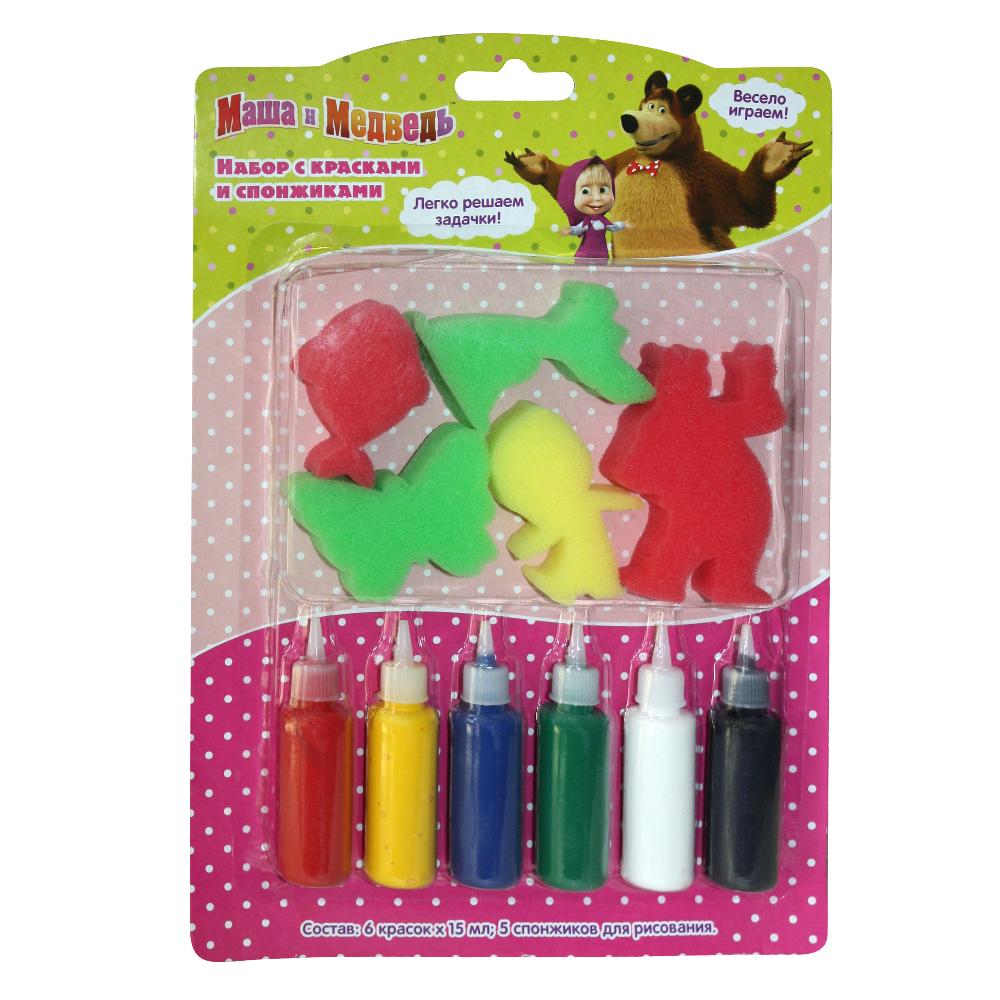 Набор с красками и спонжиками, Маша и МедведьМаша и медведь игрушки<br>Набор с красками и спонжиками, Маша и Медведь<br>