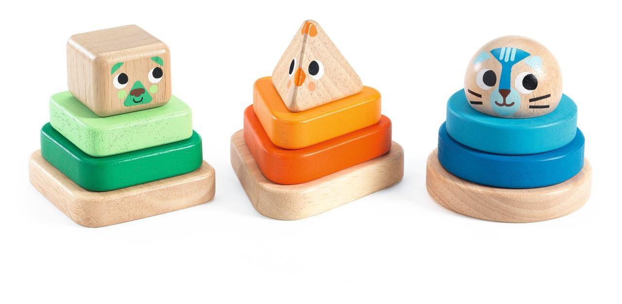 Купить Набор из 3 пирамидок Животные-мини, Djeco