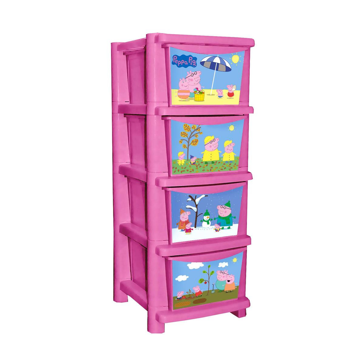 Комод для детской комнаты Обучайка - Свинка Пеппа, розовыйКорзины для игрушек<br>Комод для детской комнаты Обучайка - Свинка Пеппа, розовый<br>
