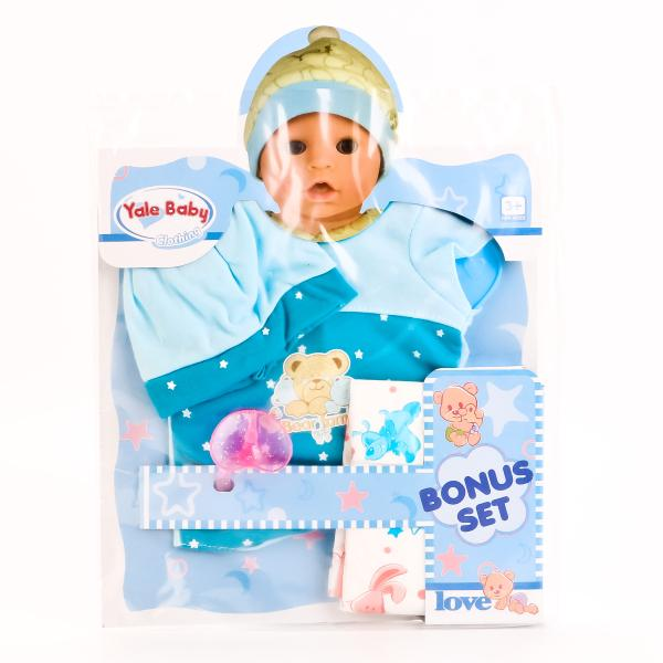 Одежда для кукол с аксессуарами – Шапочка, боди, соска, памперс, голубыеОдежда для кукол<br>Одежда для кукол с аксессуарами – Шапочка, боди, соска, памперс, голубые<br>
