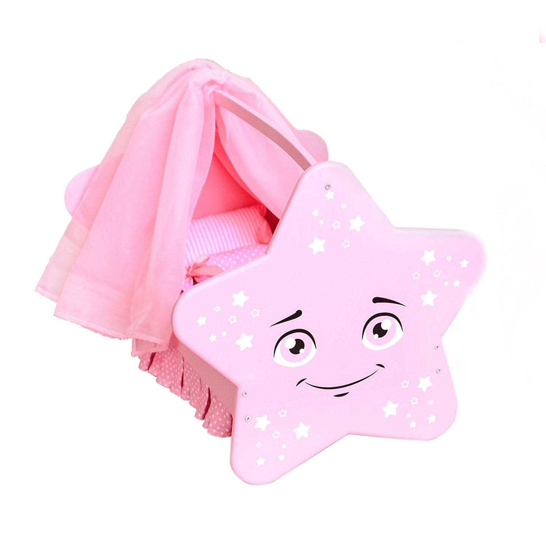 Купить Колыбель для кукол - Звездочка с постельным бельем и балдахином, цвет розовый, Paremo