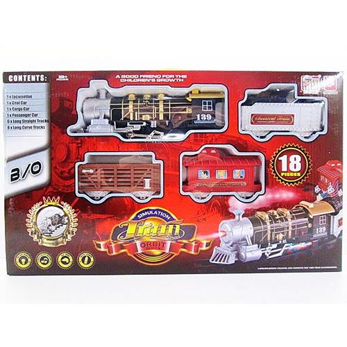 Железная дорога с дымом, светом и звуком, 18 деталейДетская железная дорога<br>Железная дорога с дымом, светом и звуком, 18 деталей<br>