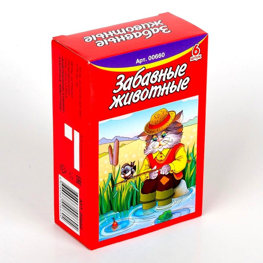 Купить Кубики - Забавные животные, 6 шт., Десятое королевство