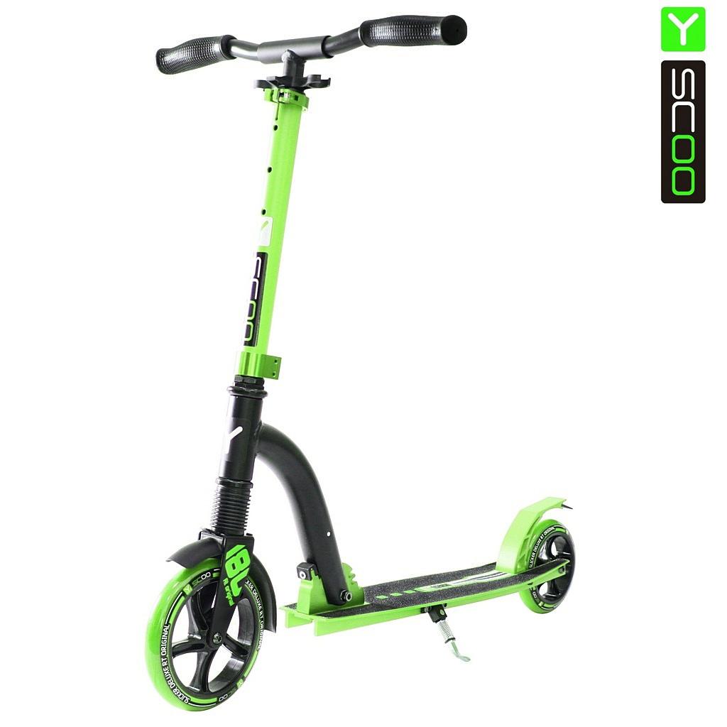Купить Двухколесный самокат Y-Scoo RT 180 Slicker с амортизатором Deluxe, зеленый