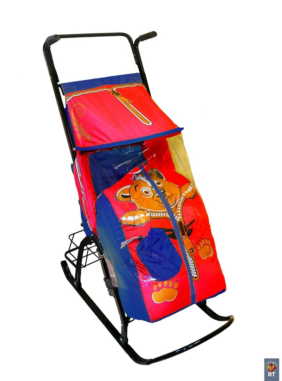 Санки-коляска Снегурочка 42-Р - Медвежонок с 4 колесиками и корзинкой, синий-красныйСанки и сани-коляски<br>Санки-коляска Снегурочка 42-Р - Медвежонок с 4 колесиками и корзинкой, синий-красный<br>