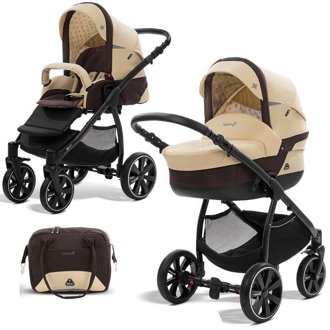 Купить Коляска детская 2 в 1 - Polaris Sport, молочный/коричневый, Noordi