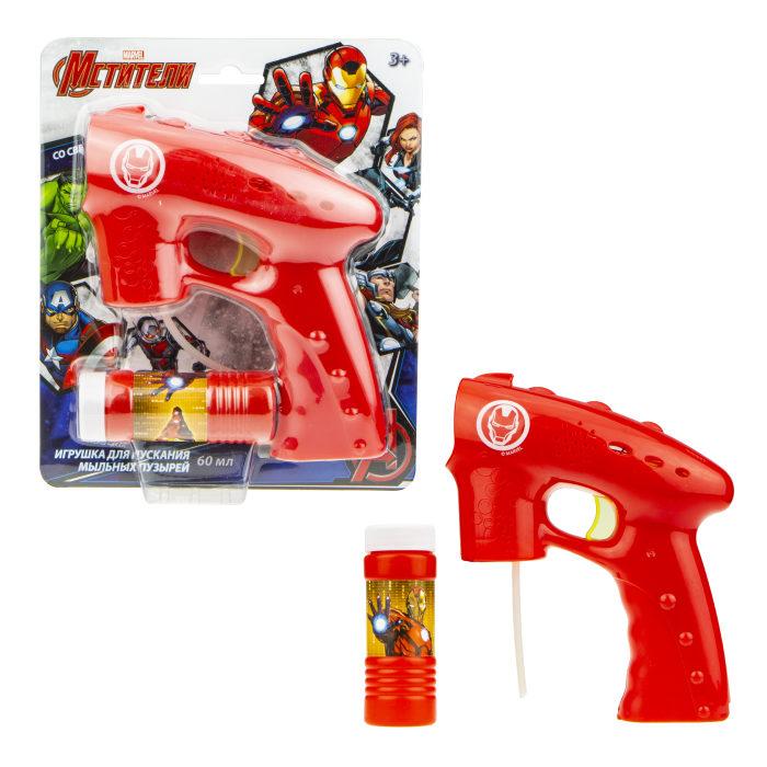 Пистолет с мыльными пузырями из серии Железный человек, свет, 60 мл., блистер фото