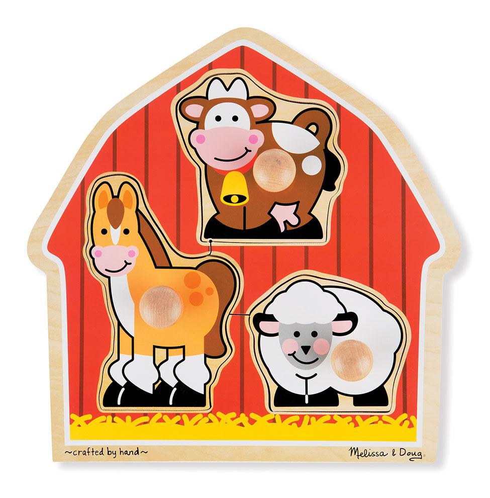Купить Набор из серии Мои первые пазлы - Животные с фермы, 3 элемента, Melissa&Doug