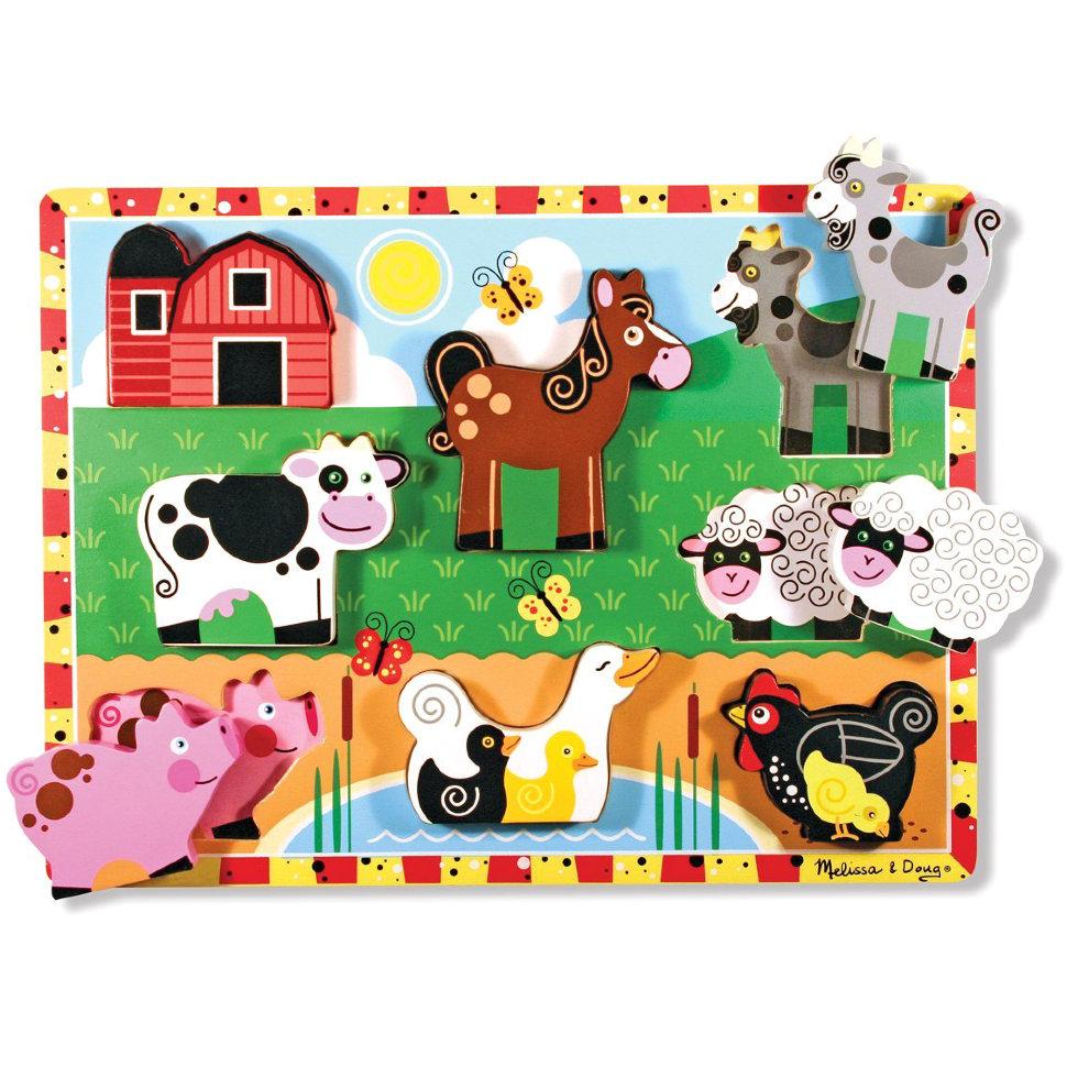 Купить Мои первые пазлы – Ферма, 8 объемных элементов, Melissa&Doug