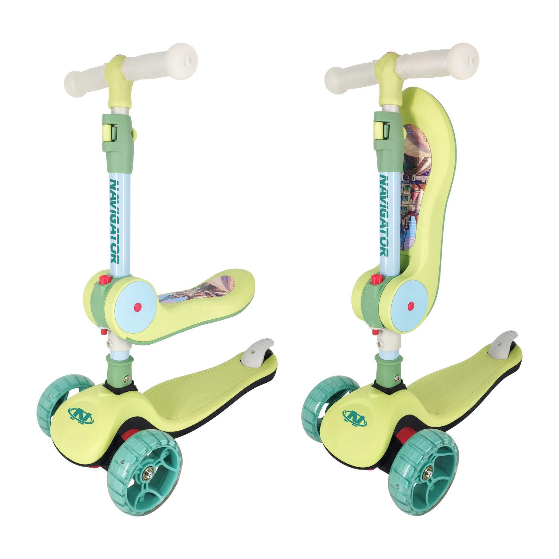 Купить Самокат универсальный Navigator, управление наклоном, светящиеся колеса 12 и 8 см, зеленый
