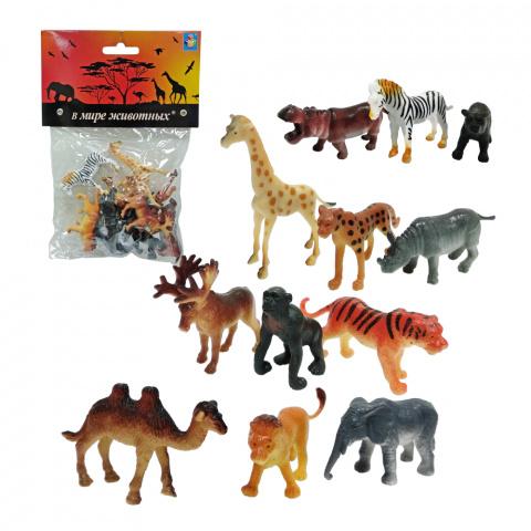 Купить Набор В мире животных – Дикие животные, 12 штук, 1TOY