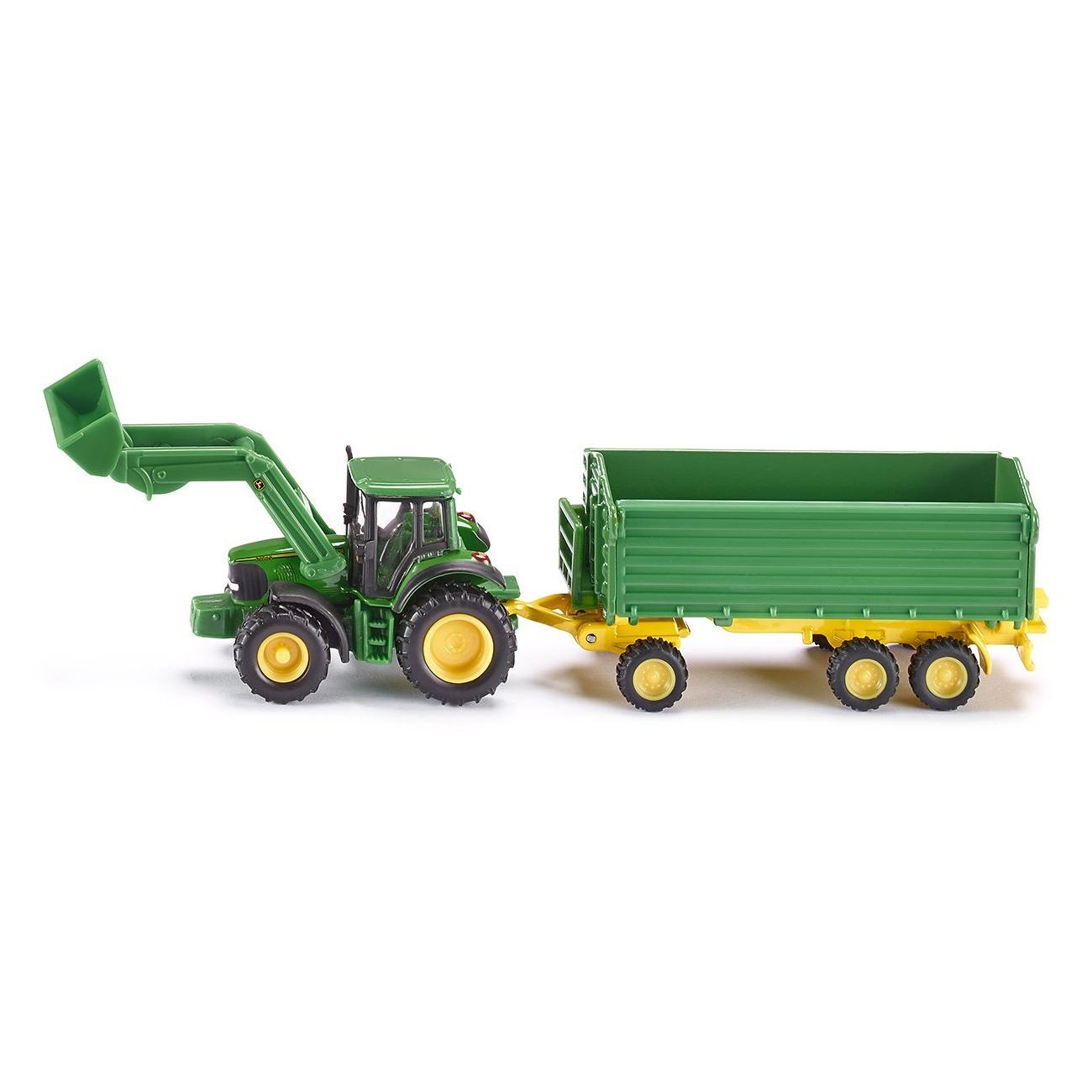 Купить Трактор с ковшом и прицепом-кузовом - Джон Дир, зеленый, Siku
