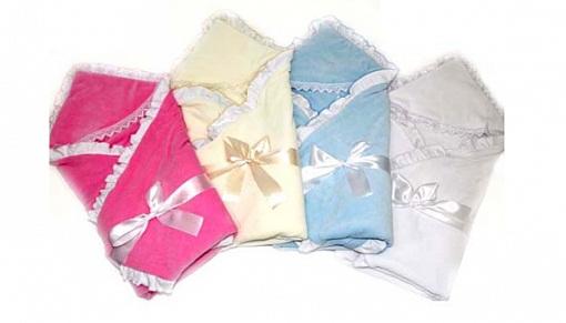 Купить Одеяло на выписку – Малютка, велюр, голубой, Bombus