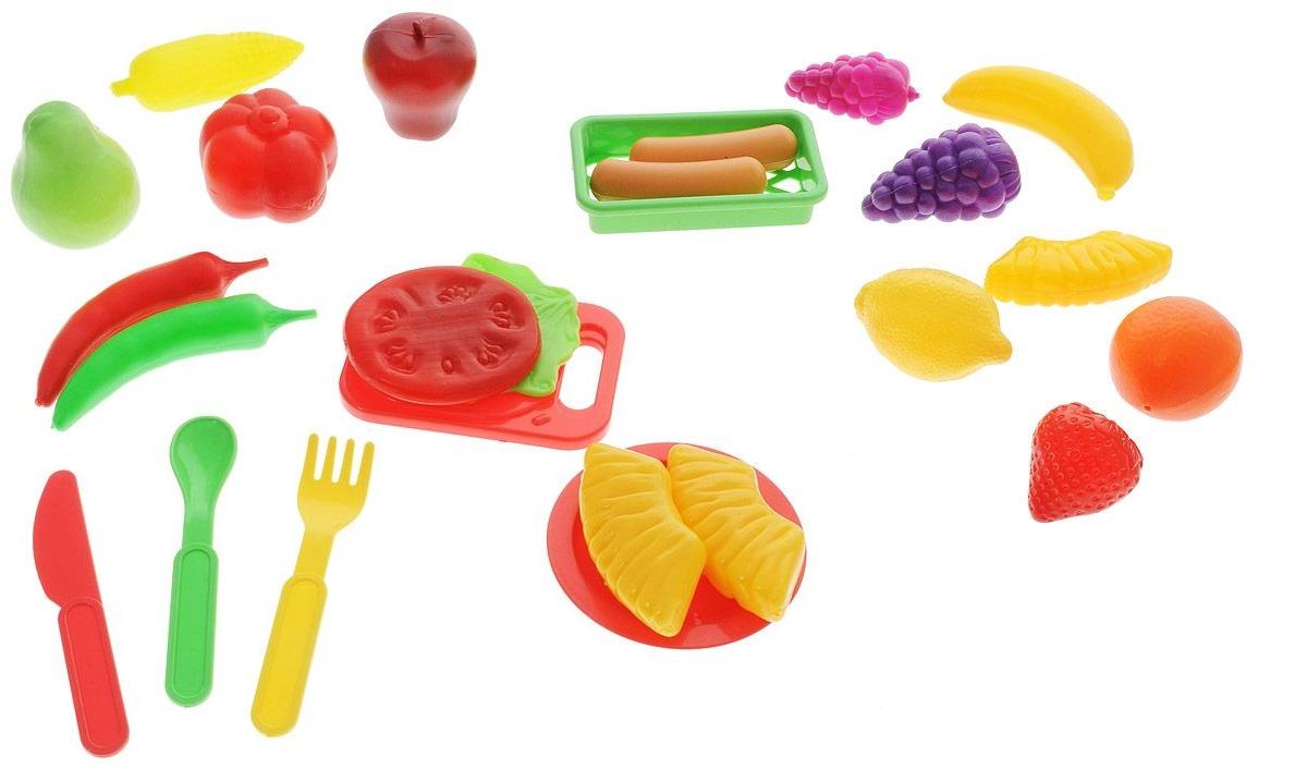 Игровой набор на 25 предметов с продуктами и посудойАксессуары и техника для детской кухни<br>Игровой набор на 25 предметов с продуктами и посудой<br>