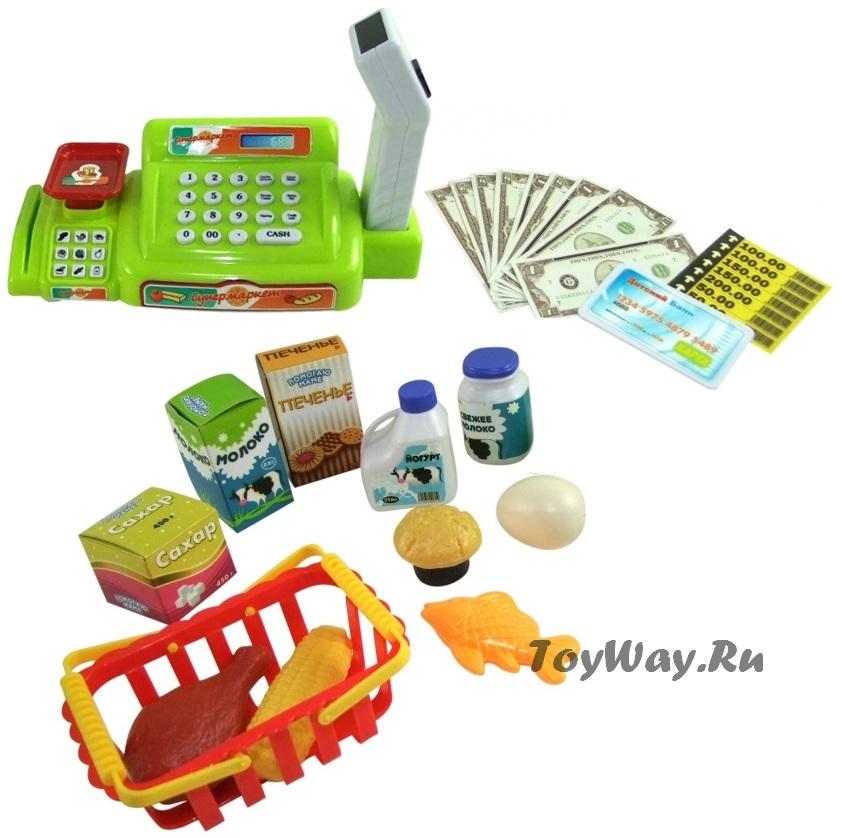 Касса электронная, продукты, корзинка и купюры