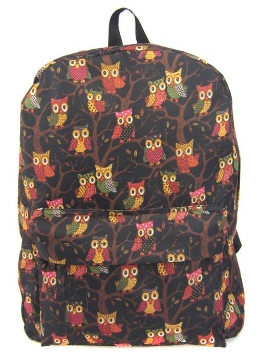 Рюкзак - Филины с 1 карманом, цвет черныйШкольные рюкзаки<br>Рюкзак - Филины с 1 карманом, цвет черный<br>