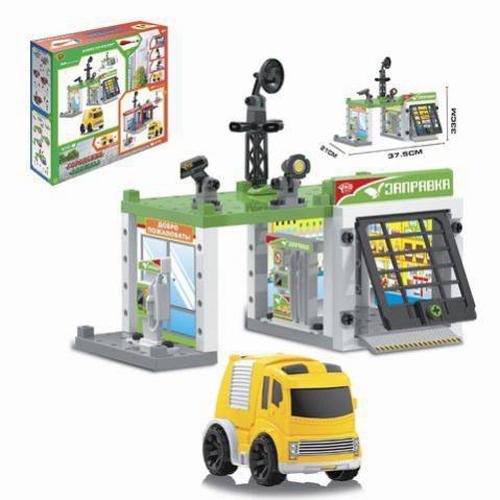 Игровой набор - Автозаправочная станция с инерционной машинкой, 50 деталей, Наша Игрушка  - купить со скидкой
