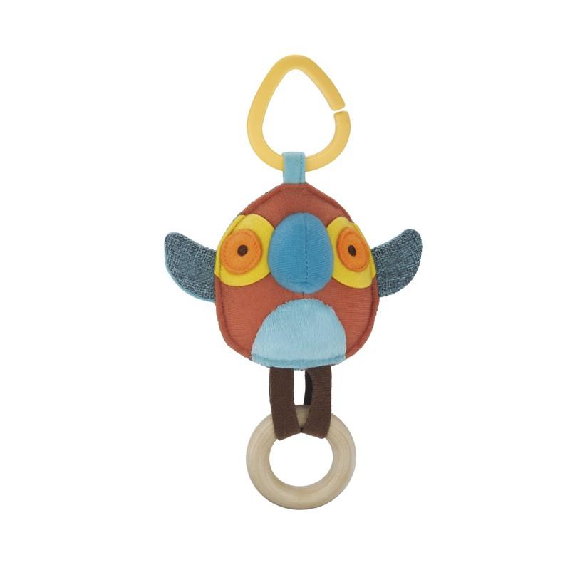 Развивающая подвеска на коляску Попугай с прорезывателемДетские погремушки и подвесные игрушки на кроватку<br>Развивающая подвеска на коляску Попугай с прорезывателем<br>