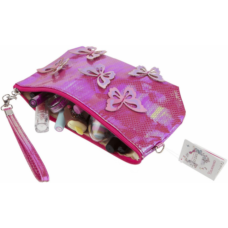 Косметичка с голографическими накладными бабочками розовая, 24 х 13 см по цене 350