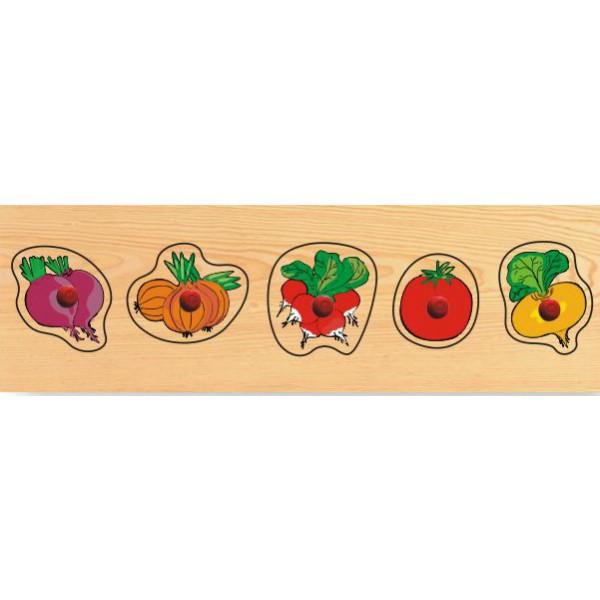 Купить Деревянный пазл в рамке - Овощи, Wooden Toys