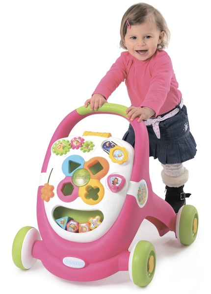 Каталка-ходунки, свет, звук, розоваяРазвивающие игрушки Smoby Cotoons<br>Каталка-ходунки, свет, звук, розовая<br>