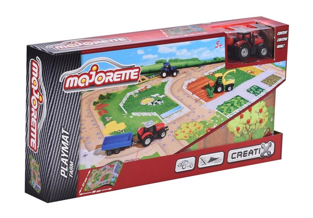 Игровой коврик  Creatix, Farm серии, нескользящий, 96 х 51 см и 1 машинка - Детские парковки и гаражи, артикул: 163753