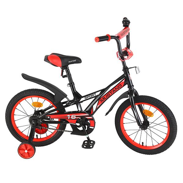 Детский велосипед – Mustang Sport, 16, J-тип, черно-красныйВелосипеды детские<br>Детский велосипед – Mustang Sport, 16, J-тип, черно-красный<br>