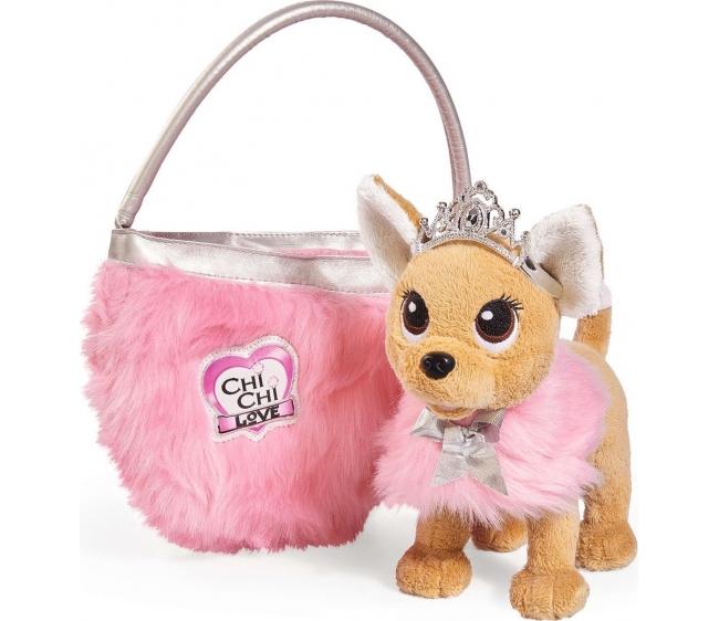 Плюшевая собачка Chi-Chi love  Принцесса с пушистой сумкой, 20 см - Chi Chi Love - cобачки в сумочке, артикул: 172131