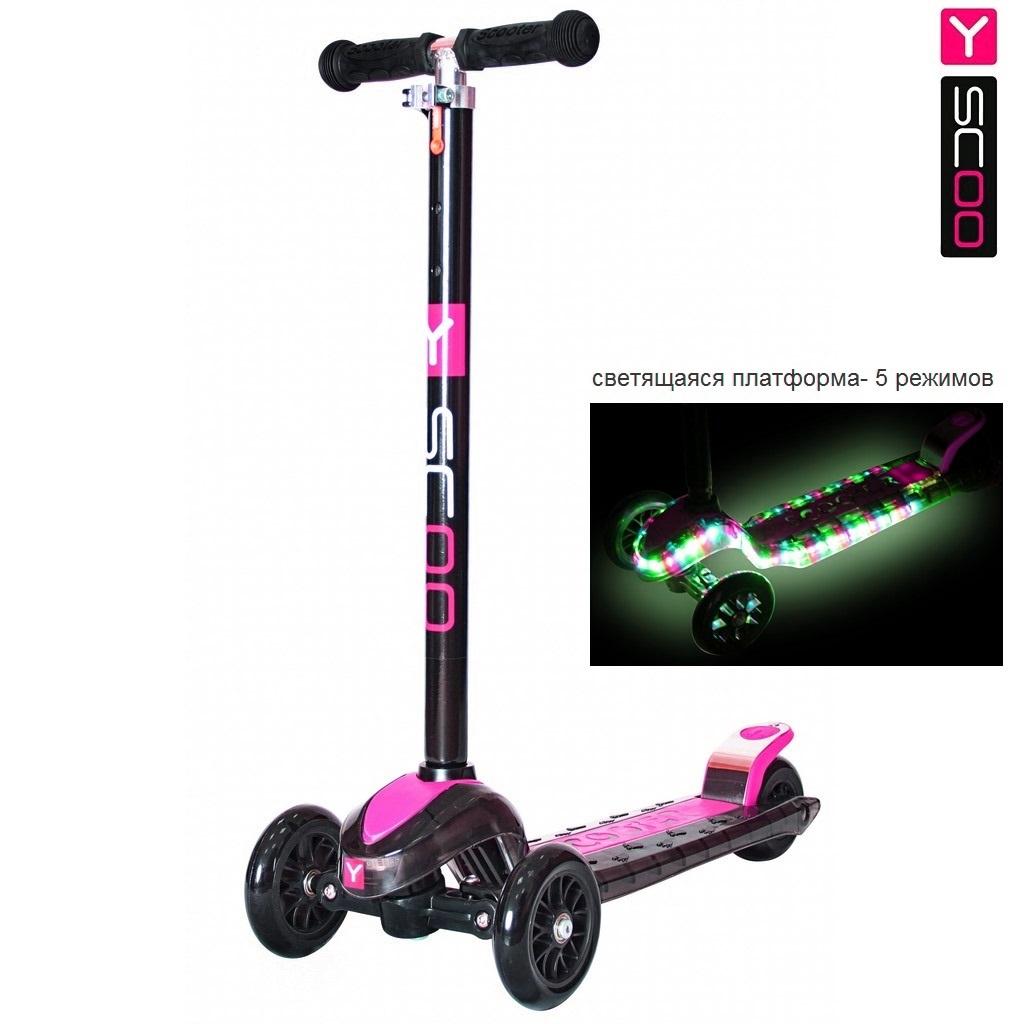 Самокат Y-Scoo Maxi Laser Show, черно-розовыйТрехколесные самокаты<br>Самокат Y-Scoo Maxi Laser Show, черно-розовый<br>