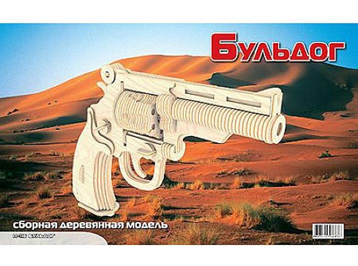 Модель деревянная сборная - Пистолет БульдогПазлы объёмные 3D<br>Модель деревянная сборная - Пистолет Бульдог<br>