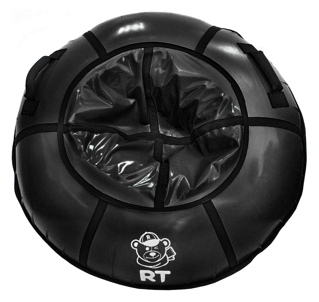 Санки надувные Тюбинг с пластиковым дном, цвет черный, диаметр 100 см.