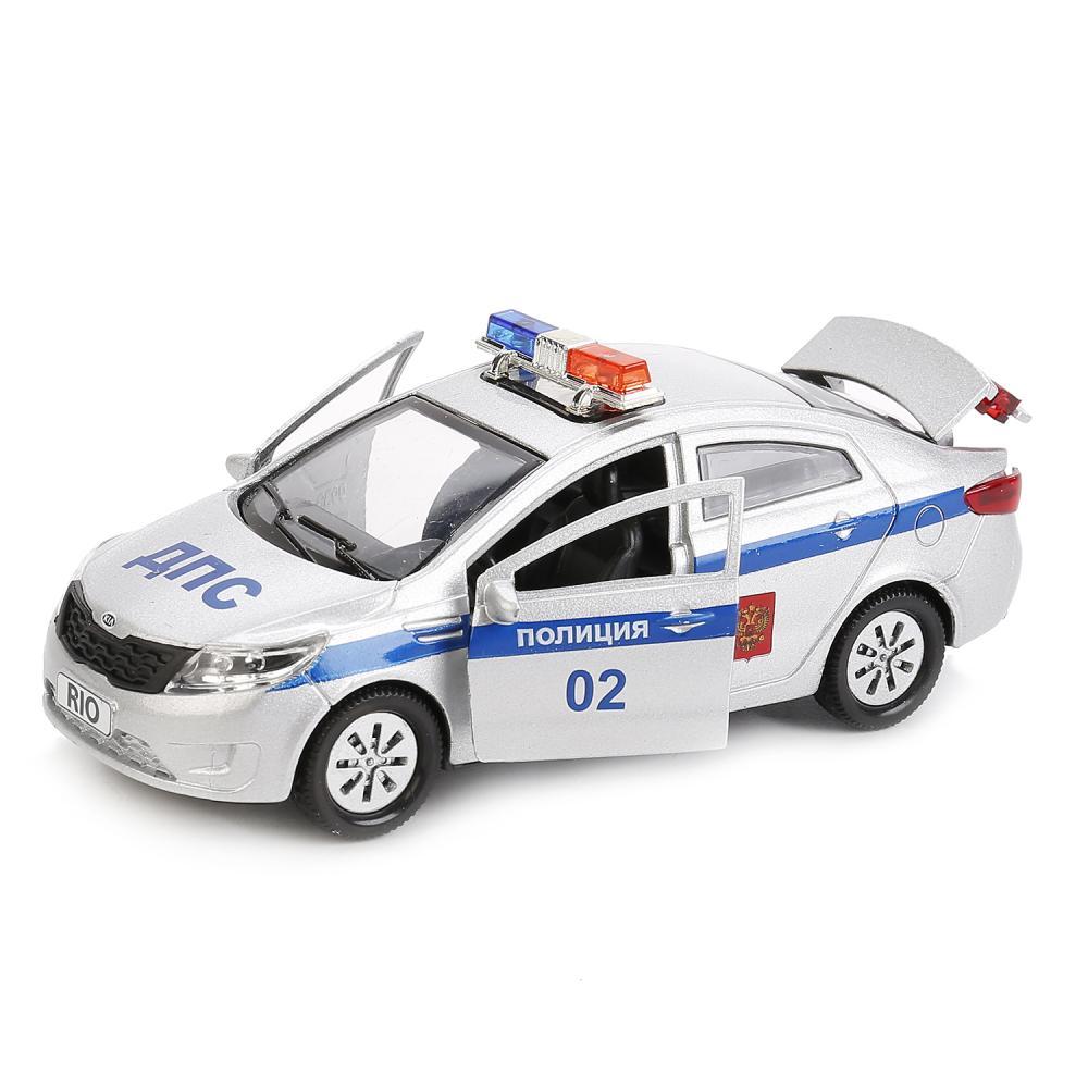 Купить Машина металлическая Kia Rio Полиция 12 см, открываются двери и багажник, инерционная, Технопарк