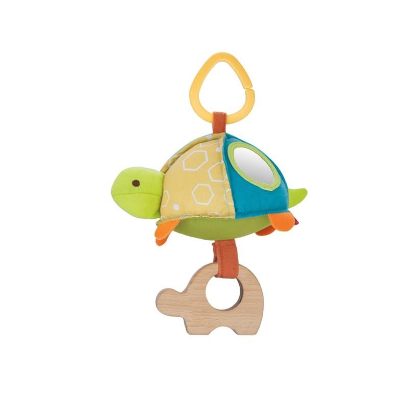 Развивающая подвеска на коляску Черепаха с зеркальцем и прорезывателемДетские погремушки и подвесные игрушки на кроватку<br>Развивающая подвеска на коляску Черепаха с зеркальцем и прорезывателем<br>