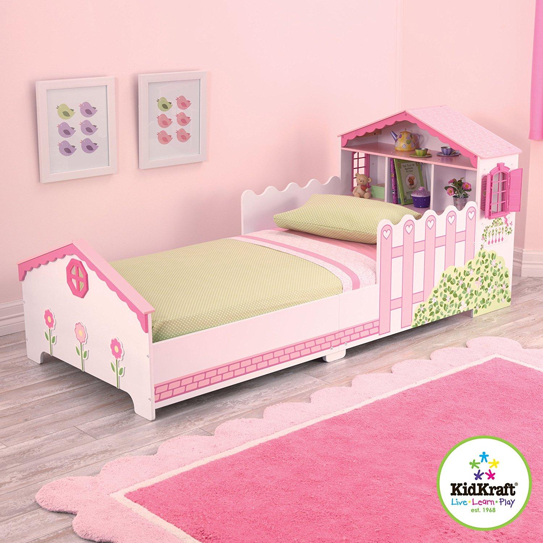Купить Детская кровать Кукольный домик, с полочками, KidKraft