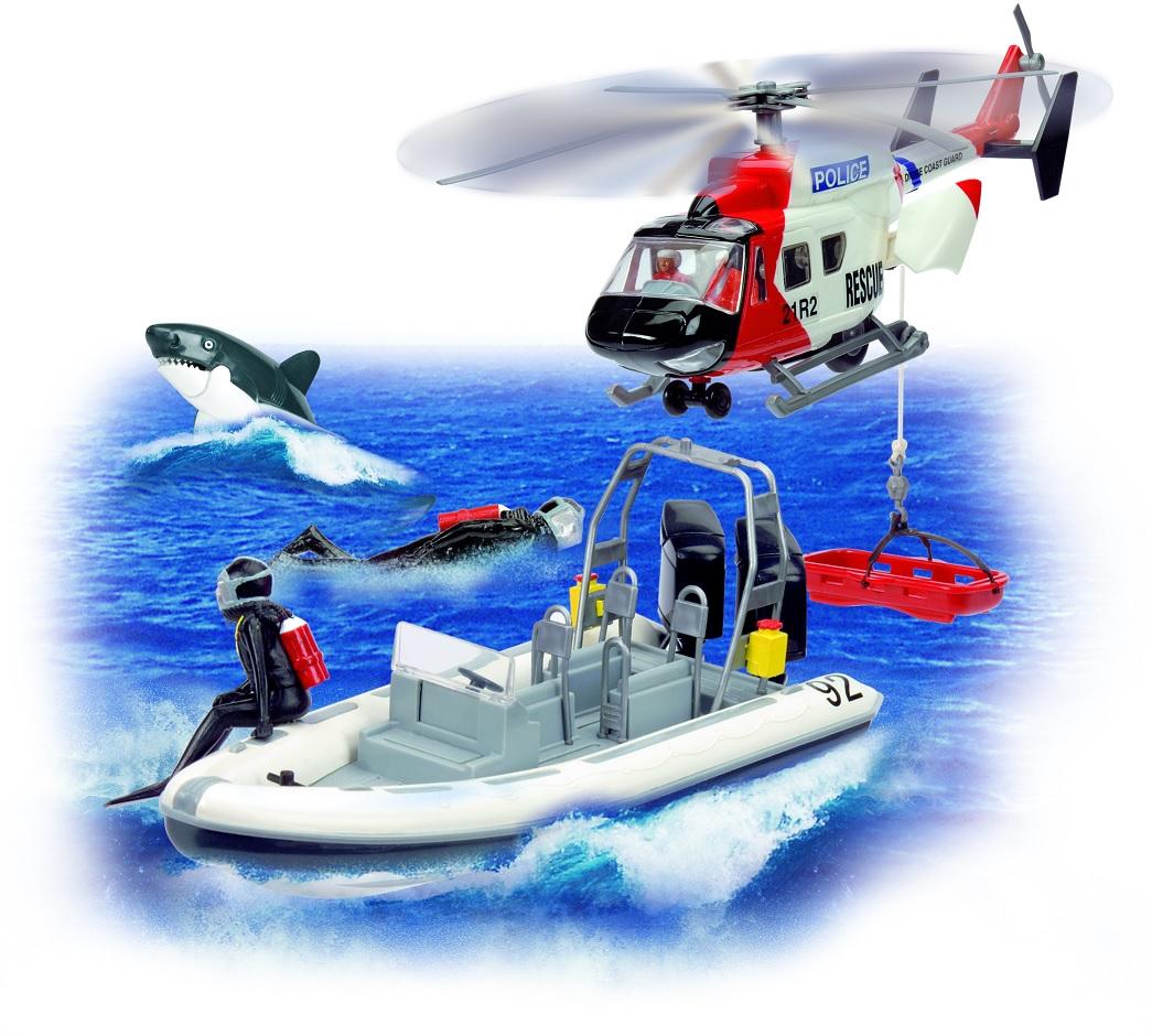Игровой набор: полицейский вертолет, катер, акула, аквалангистыСамолеты, службы спасения<br>Игровой набор: полицейский вертолет, катер, акула, аквалангисты<br>