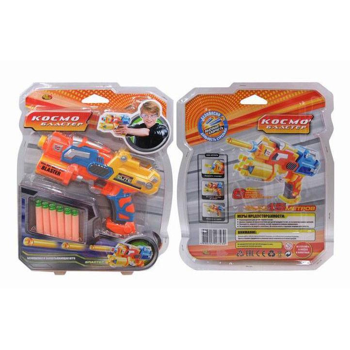 Космобластер в наборе с 6 мягкими снарядами, желтыйАвтоматы, пистолеты, бластеры<br>Космобластер в наборе с 6 мягкими снарядами, желтый<br>