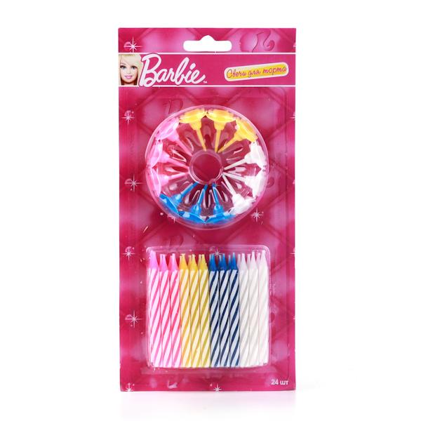Купить Набор из 24-х свечей для торта Barbie + 12 подставок на блистере, Веселый праздник