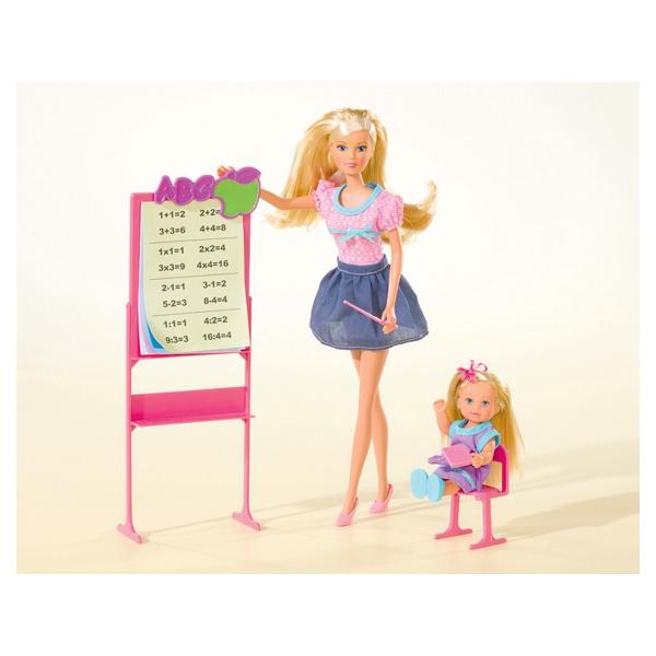 Купить Игровой набор - Школа – кукла Штеффи - учитель и кукла Еви – ученица, Simba