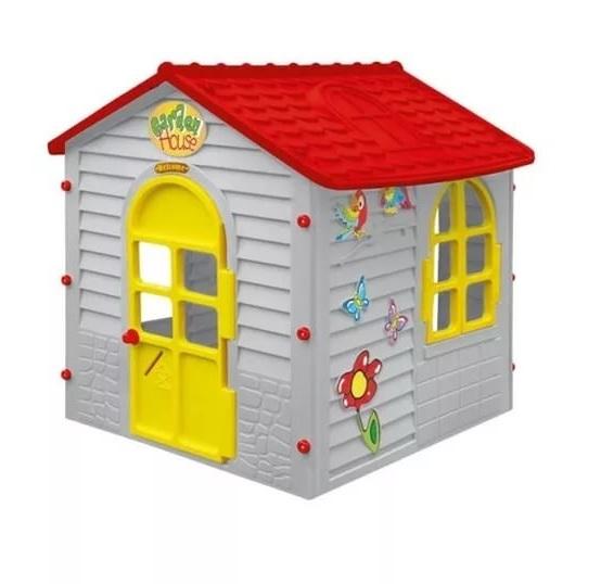 Детский малый игровой домик, фиолетовый с красной крышейПластиковые домики для дачи<br>Детский малый игровой домик, фиолетовый с красной крышей<br>