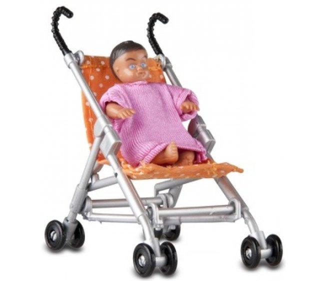 Купить Аксессуары для домика - Прогулочная коляска и малыш, Lundby
