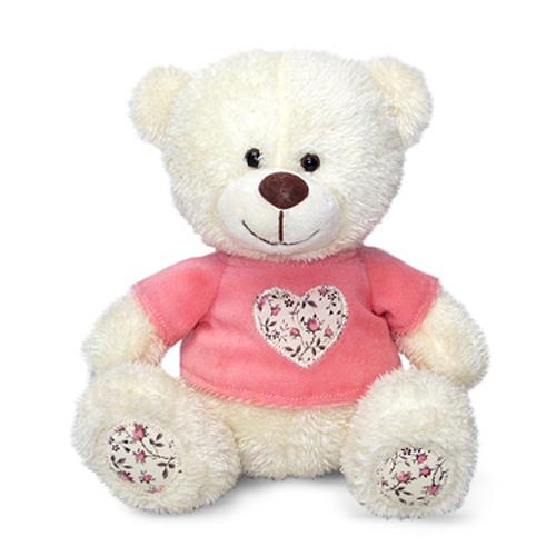 Мягкая игрушка - Медвежонок Сэмми в кофточке с декоративным сердечком, музыкальный, 18 см.Говорящие игрушки<br>Мягкая игрушка - Медвежонок Сэмми в кофточке с декоративным сердечком, музыкальный, 18 см.<br>