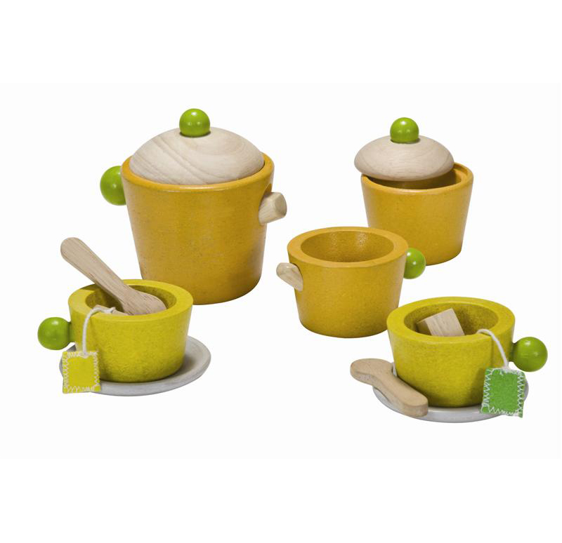 Игровой набор для чаепития из дереваАксессуары и техника для детской кухни<br>Игровой набор для чаепития из дерева<br>