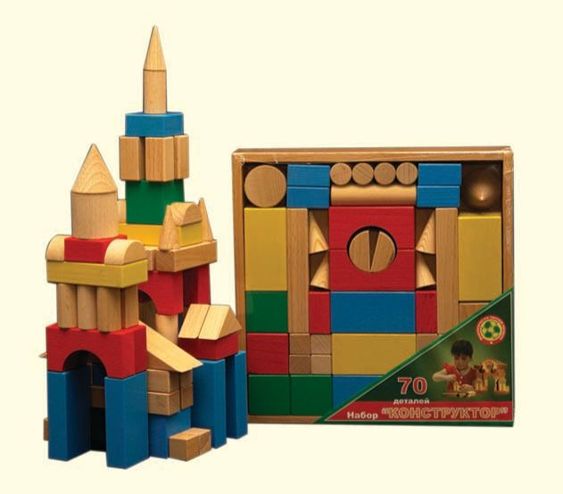 Конструктор деревянный цветной, 70 деталейДеревянный конструктор<br>Конструктор деревянный цветной, 70 деталей<br>